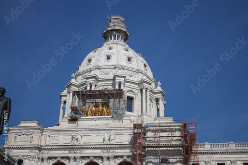 Photo  Exterior daytime stock photo of Minnesota state capital building in St