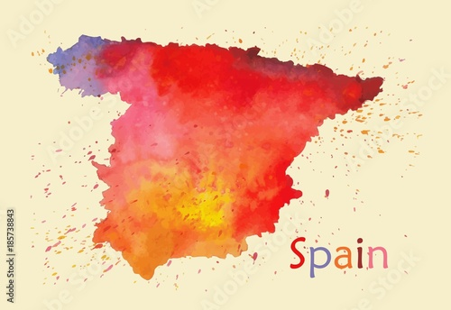 Stylized map of Spain Wallpaper Mural