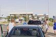 crowded at the border crossing in the afternoon