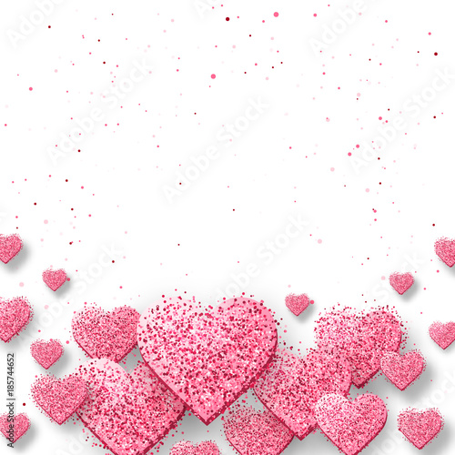 Saint valentine day background with colorful hearts with frame Fototapete