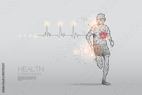 Fotografía  The particles, geometric art, line and dot of human running for health