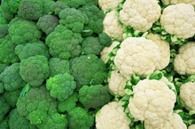 Broccoli And Cauliflower On Market