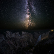 The Milky Way Over The Lower Falls And The Grand Canyon Of The Yellowstone River, Yellowstone National Park, Wyoming, USA