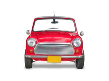 Red Retro Car, Isolated On White Background With Clipping Path.