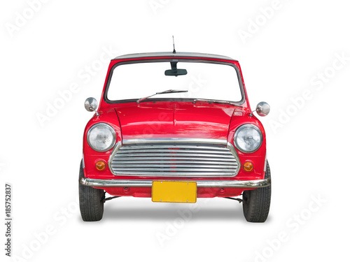 Cuadros en Lienzo Red retro car, isolated on white background with clipping path.