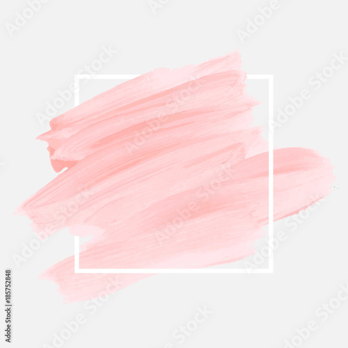 Fényképezés Logo brush painted watercolor abstract background design illustration vector over square frame