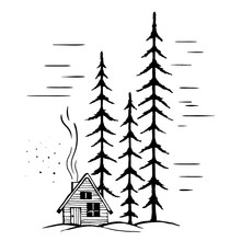 Winter Landscape With High Fir Trees And Winter Festive Hut With Chimney And Smoke.