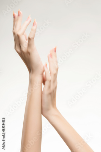 Fototapety, obrazy: beautiful woman's hands with light pink manicure on the nails