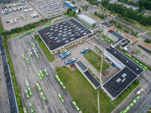 Trolley And Bus Depot In Kaunas, Lithuania. Aerial View