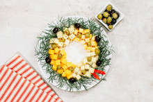Christmas Wreath Cheese With Olives On Marble Background, Top View