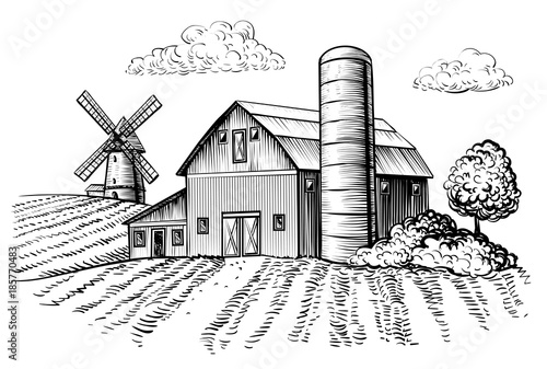 Fotografía  Rural landscape, farm barn and windmill sketch