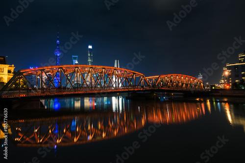 Deurstickers Amsterdam Waibaidu bridge in the night in Shanghai city