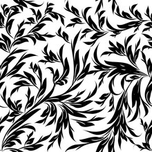 Vintage Black White Floral Vector Seamless Pattern. Isolated Texture. Leafy Flourish Background. Hand Drawn Line Art Tracery Leaves, Branches, Flowers. Luxury Design For Wallpaper, Fabric, Prints