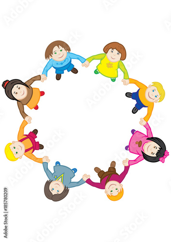 Happy Childrens Dance Around The Circle Illustration Cartoon Children Dancing A Roundelay Holding Hands Top View Flat Design Buy This Stock Illustration And Explore Similar Illustrations At Adobe Stock Adobe Stock