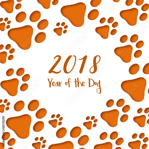 Paper cut dog footprints. Happy Chinese New Year Greeting Card ...