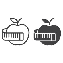 Apple With Measuring Tape Line And Glyph Icon, Fitness And Sport, Diet Sign Vector Graphics, A Linear Pattern On A White Background, Eps 10.