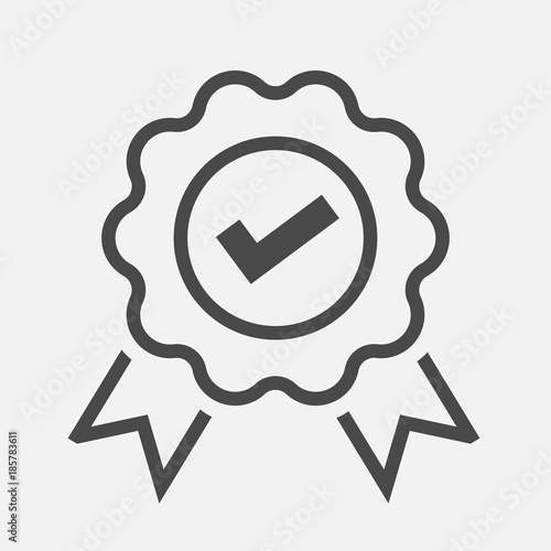 Fotografie, Obraz approved or certified badge correct mark icon line vector
