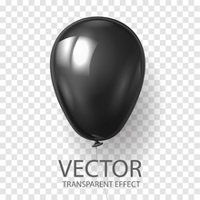 Realistic 3D Render Black Balloon Vector Stock Illustration Isolated On Transparent Background. Glossy Shine Helium Balloon In Dark Color For  Celebration, Party Or Grand Opening, Sale Promotion