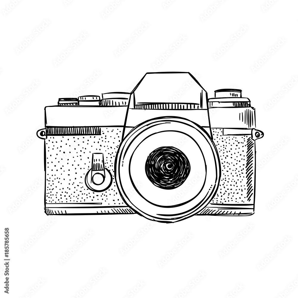 Fototapety, obrazy: Hand drawn vintage camera illustration. Sketched photography equipment