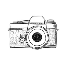 Hand Drawn Vintage Camera Illu...