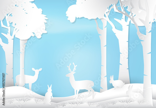 Deer and rabbit standing in forest. Nature landscape background  paper art style illustration.