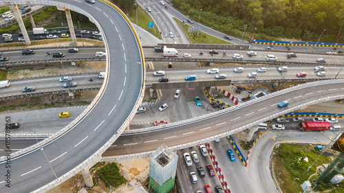 Aerial shot,view from the drone on the road junction of Kuala-Lumpur,Malaysia