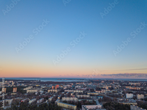 Poster de jardin Paris Aerial view of city Tallinn Estonia, panorama of district Mustamjae