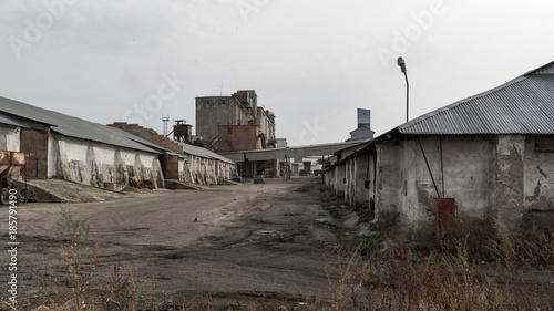 Staande foto Industrial geb. Old industrial buildings. Industrial background. Old architecture. Elevator