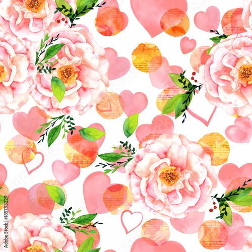 akwarela-roza-wzor-z-nuty-i-serca