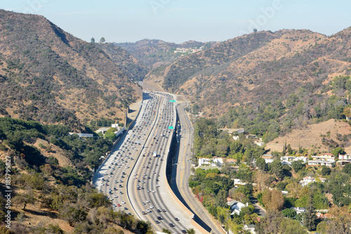 View over San Diego freeway in Los Angeles.