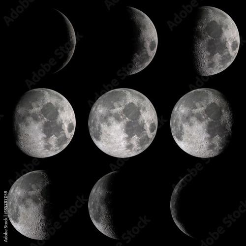 Deurstickers Nasa Moon phases detail