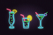 Set Of Cocktail Neon Emblem.Ve...