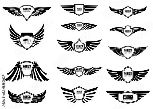 Leinwand Poster  Satz leere Embleme mit Flügeln