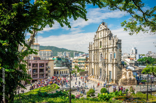 Ruins of Saint Paul's Catholic Church with tourists. They are one of Macau's famous landmarks.