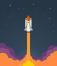 Space Rocket Launch. Vector Il...