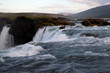 View of the Godafoss waterfall in the Bardardalur district of North-Central Iceland