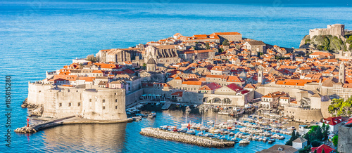Wall Murals Beige Dubrovnik townscape aerial panorama. / Aerial townscape of Dubrovnik city in Croatia, panorama view - Adriatic Sea scenery.