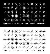 Big Set Of Premium Star Sparkle And Glitter Brush. Brush Tips. Isolated On Black And White Background. Vector Illustration