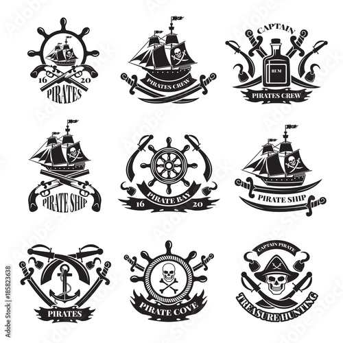 Pirate Skull Corsair Ships Symbols Of Piracy Monochrome Labels