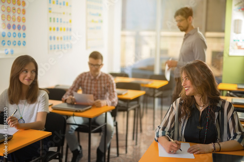 Fototapety, obrazy: Group of university students are ready for taking the exam