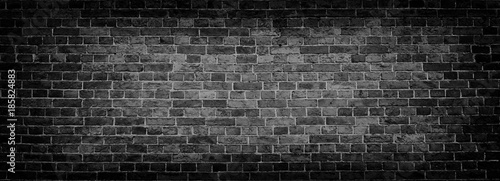 Obraz Black Old Brick wall panoramic background in high resolution - fototapety do salonu