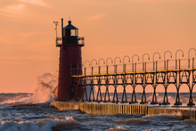 South Haven Lighthouse At Sunset