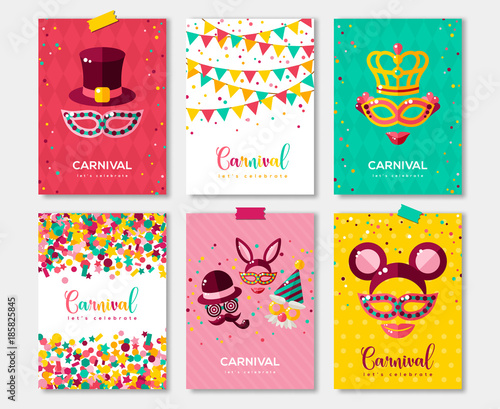 Carnival colorful posters set flyer or invitation design comprar carnival colorful posters set flyer or invitation design stopboris Gallery