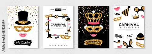 Obraz Carnival gold and black posters set - fototapety do salonu
