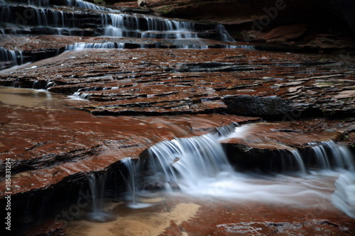 Fototapeten Forest river Archangel Falls on the way to the Subway Canyon in Zion National Park, Utah USA