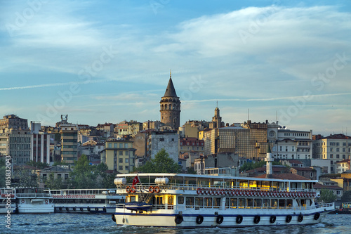 Fotobehang Passenger ferry ship on the Gulf Golden Horn, Sea front landscape of Istanbul historical part, Turkey famous city.