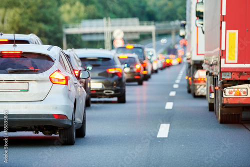 Cuadros en Lienzo traffic jam or collapse on autostrada motorway road