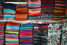 Beautiful And Colourful Silk And Cotton Indian Scarfs Sold In Souvenir Shop Market Stall