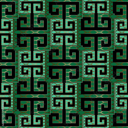Elegant Modern Green Meander Seamless Pattern Vector Greek Key Background Geometric Emerald Wallpaper