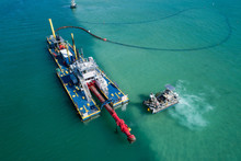 Aerial Shot Of An Industrial Barge Miami FL Biscayne Bay